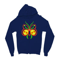 Rasta Butterfly Kids Zip Hoodie 3-4 Years / New French Navy Apparel