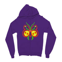 Rasta Butterfly Kids Zip Hoodie 3-4 Years / Purple Apparel