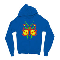 Rasta Butterfly Kids Zip Hoodie 3-4 Years / Sapphire Blue Apparel
