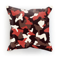 Red Camo Army Pattern Cushion Faux Suede / 18X18 Homeware