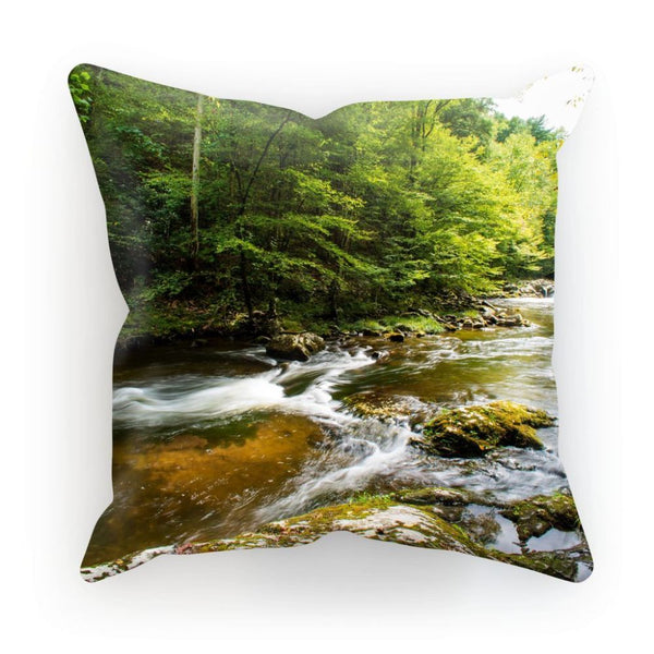 River Surrounded By Trees Cushion Linen / 12X12 Homeware