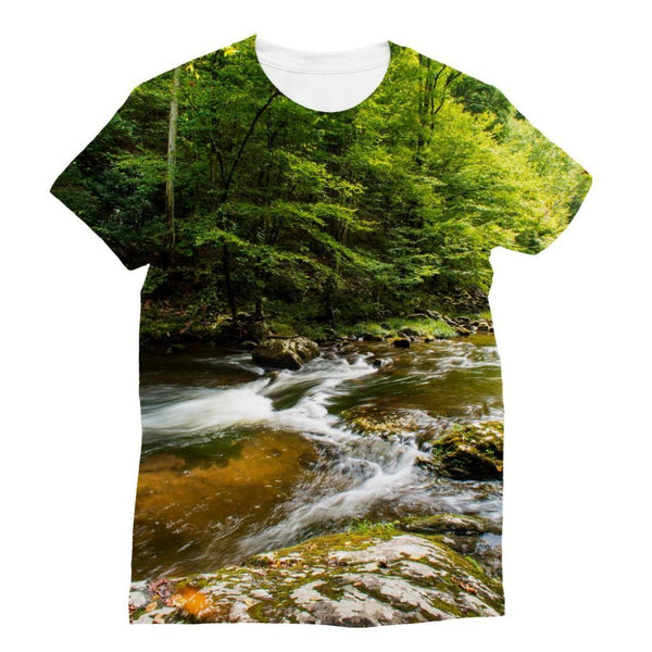 River Surrounded By Trees Sublimation T-Shirt S Apparel