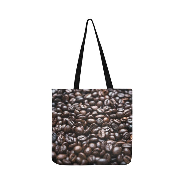 Roasted Coffee Beans Pattern Reusable Tote Shopping Bag (Two Sides) (1660)