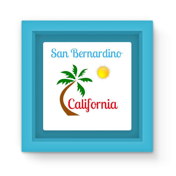 San Bernardino California Magnet Frame Light Blue Homeware