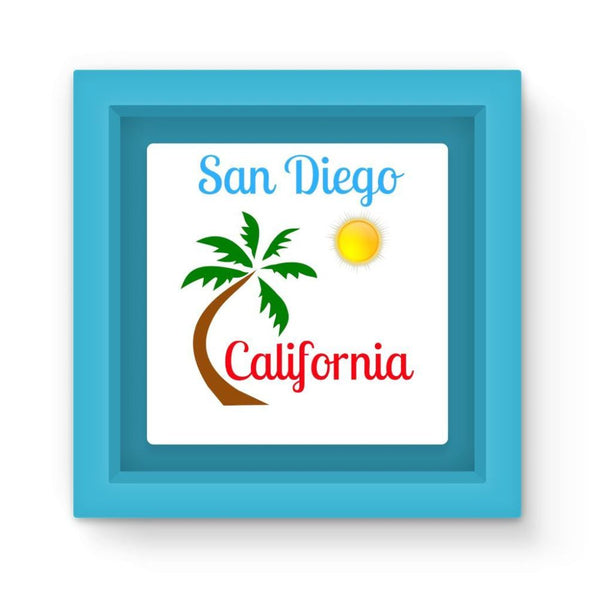 San Diego California Magnet Frame Light Blue Homeware