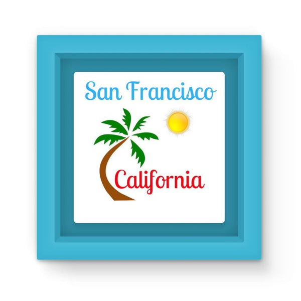 San Francisco California Magnet Frame Light Blue Homeware