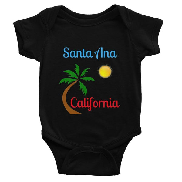 Santa Ana California Baby Bodysuit 0-3 Months / Black Apparel