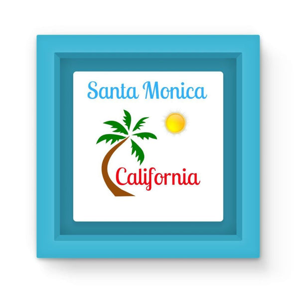 Santa Monica California Magnet Frame Light Blue Homeware