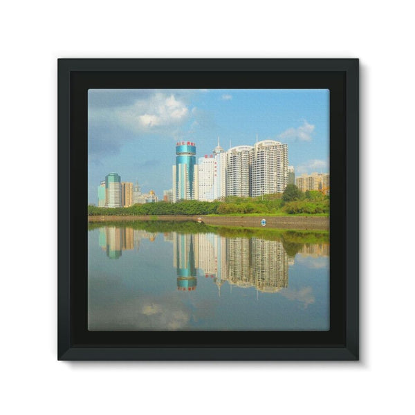 Shadows Of Buildings Framed Canvas 12X12 Wall Decor