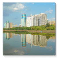 Shadows Of Buildings Stretched Eco-Canvas 10X10 Wall Decor