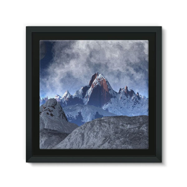 Sharped Edged Mountains Framed Canvas 12X12 Wall Decor
