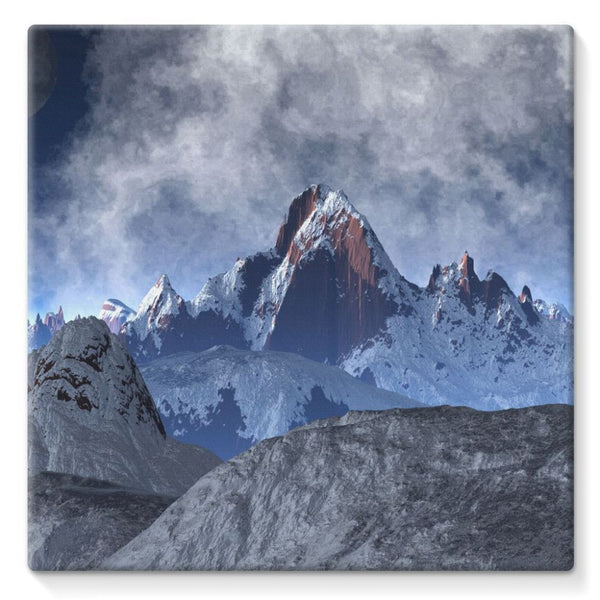 Sharped Edged Mountains Stretched Canvas 10X10 Wall Decor