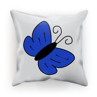 Simple Blue Butterfly Cushion Faux Suede / 18X18 Homeware