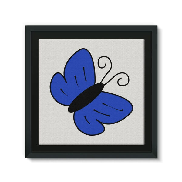 Simple Blue Butterfly Framed Canvas 12X12 Wall Decor