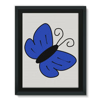 Simple Blue Butterfly Framed Canvas 18X24 Wall Decor