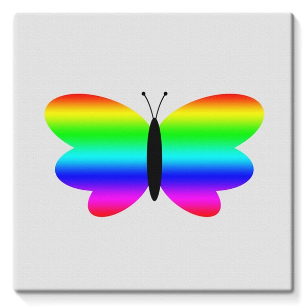 Simple Rainbow Butterfly Stretched Canvas 10X10 Wall Decor