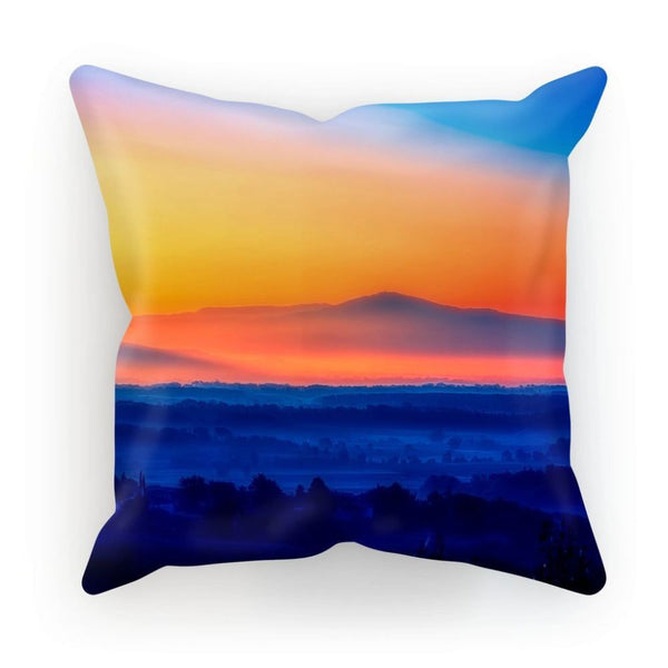 Sky With Mountain Sunset Cushion Linen / 12X12 Homeware