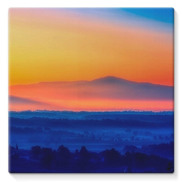 Sky With Mountain Sunset Stretched Eco-Canvas 10X10 Wall Decor