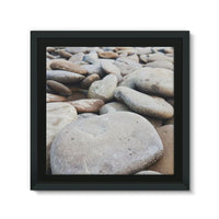Smooth Pebbels On River Bank Framed Canvas 12X12 Wall Decor