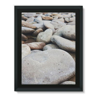Smooth Pebbels On River Bank Framed Canvas 12X16 Wall Decor