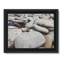 Smooth Pebbels On River Bank Framed Canvas 16X12 Wall Decor