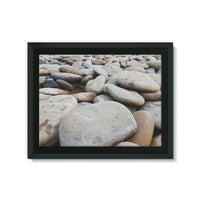Smooth Pebbels On River Bank Framed Canvas 24X18 Wall Decor