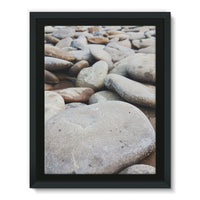 Smooth Pebbels On River Bank Framed Canvas 24X32 Wall Decor