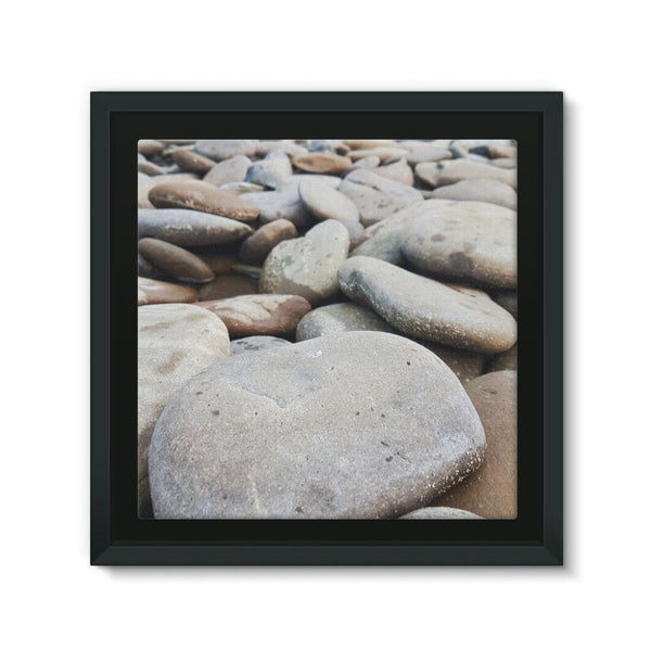 Smooth Pebbels On River Bank Framed Eco-Canvas 10X10 Wall Decor