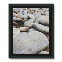 Smooth Pebbels On River Bank Framed Eco-Canvas 11X14 Wall Decor