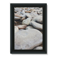 Smooth Pebbels On River Bank Framed Eco-Canvas 24X36 Wall Decor