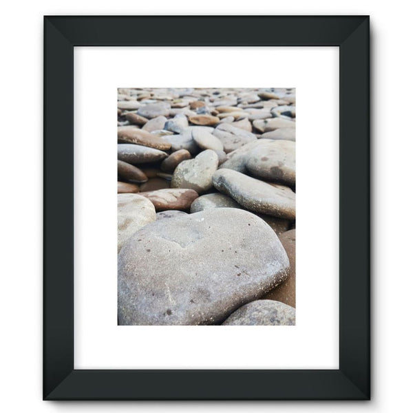 Smooth Pebbels On River Bank Framed Fine Art Print 12X16 / Black Wall Decor