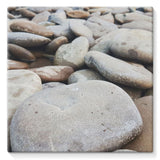 Smooth Pebbels On River Bank Stretched Eco-Canvas 10X10 Wall Decor