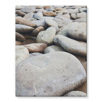 Smooth Pebbels On River Bank Stretched Eco-Canvas 11X14 Wall Decor