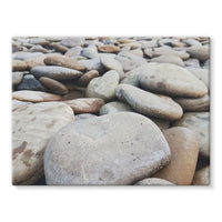 Smooth Pebbels On River Bank Stretched Eco-Canvas 24X18 Wall Decor
