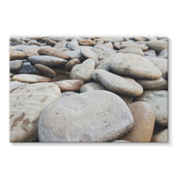 Smooth Pebbels On River Bank Stretched Eco-Canvas 36X24 Wall Decor