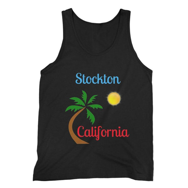Stockton California Palm Sun Fine Jersey Tank Top S / Black Apparel