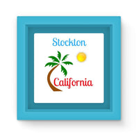 Stockton California Palm Sun Magnet Frame Light Blue Homeware