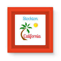 Stockton California Palm Sun Magnet Frame Red Homeware