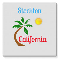 Stockton California Palm Sun Stretched Canvas 10X10 Wall Decor