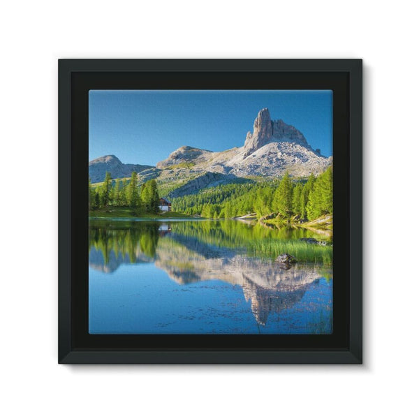 Summer Mountain Reflection Framed Canvas 12X12 Wall Decor
