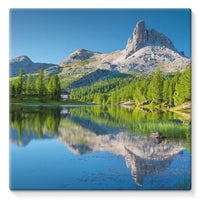 Summer Mountain Reflection Stretched Canvas 14X14 Wall Decor