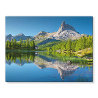 Summer Mountain Reflection Stretched Canvas 16X12 Wall Decor
