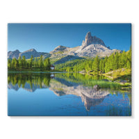Summer Mountain Reflection Stretched Canvas 24X18 Wall Decor
