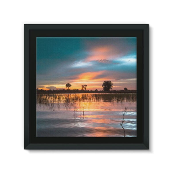 Sunset In The River Framed Canvas 12X12 Wall Decor