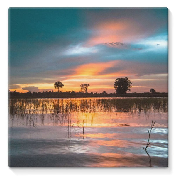 Sunset In The River Stretched Canvas 10X10 Wall Decor