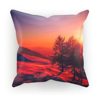Sunset View On Mountain Cushion Faux Suede / 18X18 Homeware
