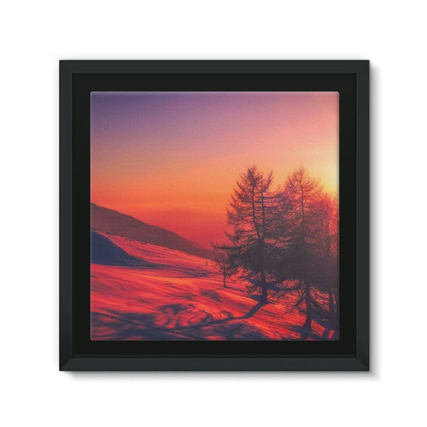 Sunset View On Mountain Framed Canvas 12X12 Wall Decor