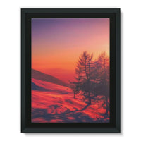 Sunset View On Mountain Framed Canvas 24X32 Wall Decor