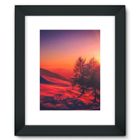 Sunset View On Mountain Framed Fine Art Print 12X16 / Black Wall Decor