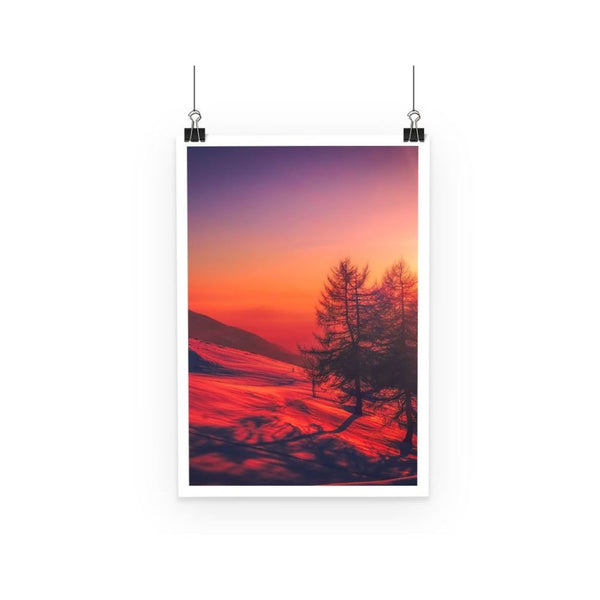 Sunset View On Mountain Poster A3 Wall Decor